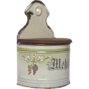 German Enamel Graniteware Flour Container - Hand-painted Grape Design