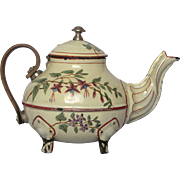 Exceptional - Mid-1800's Wooden Handle Enamelware Tea Pot - Floral Decor