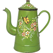 Early French Graniteware Coffee Pot - Green Hand-painted Enamel Butterfly Decor