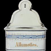 French Enamel Graniteware Match Box - Match Holder