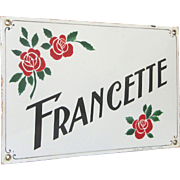Authentic French Enamel House Name Plaque - House Plate / Sign