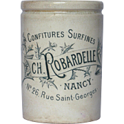 Early 1900s French Ceramic ROBARDELLE Jam Crock - Jelly Jar