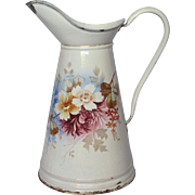 Antique French Enamel Graniteware Body Pitcher - Hand-Painted Floral Decor