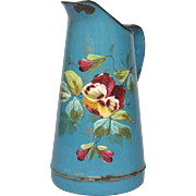 1800's Hand-Painted Floral French Enamel Graniteware Pitcher