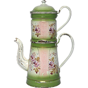 1800s French Enamel Graniteware Drip Coffee Pot - Hand-Painted Floral