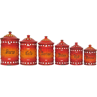 Complete Set of Red & Orange Enameled Graniteware Canisters from France
