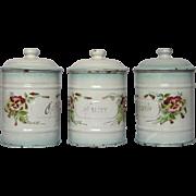 French JAPY Floral Enamel Graniteware Canister Set