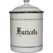 RARE - Early 1900s French Enamel Graniteware Canister for BEANS - Haricots