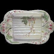 French Majolica Barbotine  Asparagus Serving Platter / Cradle