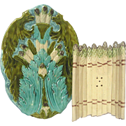 ON SALE - French Majolica Asparagus Cradle and Platter