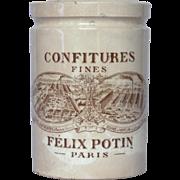Vintage French Ceramic Felix Potin Jam Crock - Jelly Jar - Preserve Pot