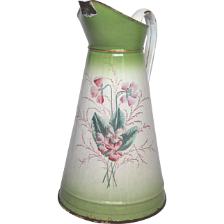 Hand-Painted Floral French Enamelware Body Pitcher