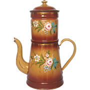 XL 1800's French Enamel Drip Coffee Pot Biggin - Hand-Painted Floral Decor