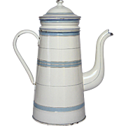 Early 1900s Blue Banded French Drip Coffee Pot Biggin in Excellent Condition
