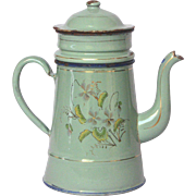 Aqua Green Enamel French Graniteware Drip COffee Pot Biggin - Hand Painted Floral Decor