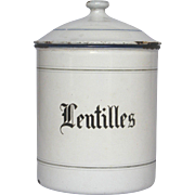 RARE - Early 1900s French Enamel Graniteware Canister for LENTILS - Lentilles
