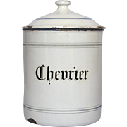 Early 1900s French Enamel Graniteware Canister for Flagelot BEANS - Chevrier