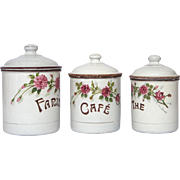 Set of Three French Enamel Canisters with Hand-Painted Floral Decor