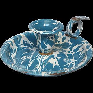 French Graniteware Chamber Stick - Candle Stick -Turquoise & White Swirl