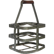 Vintage French Wine Bottle Carrier - Zinc