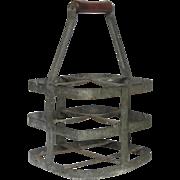 Vintage French Wine Bottle Carrier - Zinc