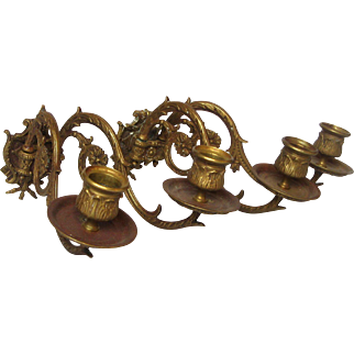 Pair of Double Armed Ornate Metal French Sconce - Candle Holders