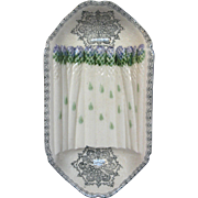 French Majolica Barbotine AND Transferware Asparagus Platter / Cradle