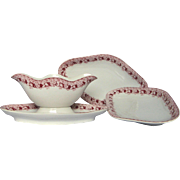 3 Pc Set of French Ironstone Transfer Serving Dishes - Early 1900s -Gravy Boat and Small Platters