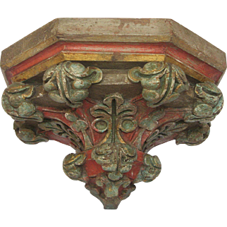 19th  Carved Wooden Polychrome Religious Sconce - Shelf - Applique