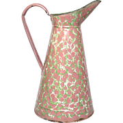 Pink & Green Enamelware XL French Body Pitcher - End of Day Pattern