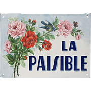Antique French Enameled House Plaque - Name Sign