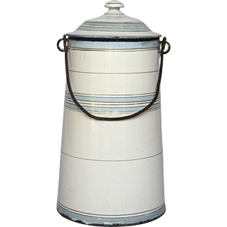 Vintage Blue Band Enameled Milk Carrier - Milk Pot
