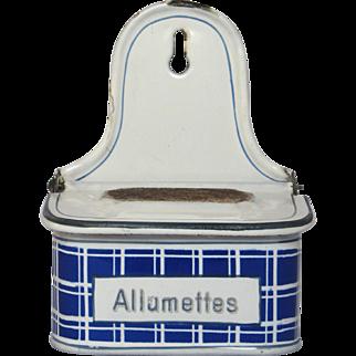 French Blue Check Enamel Graniteware Match Box / Match Holder