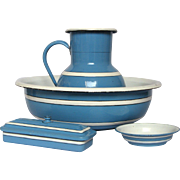 Four Piece Enameled Graniteware Bath Set from France