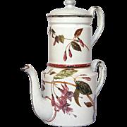 Birds & Flower Decor - French Enamel Graniteware Drip-Coffee Biggin