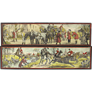 Pair of Vintage Fox Hunt Polychrome Lithographs from France