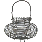 Vintage French Wire ware Egg Basket with Decorative Loop Trim