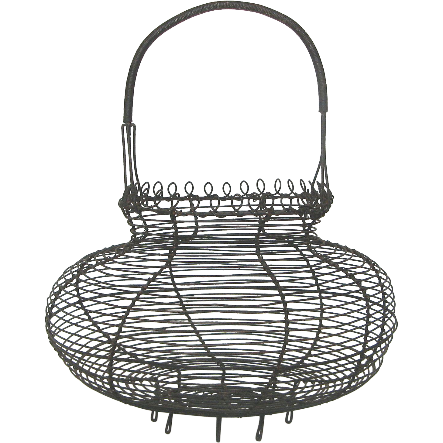 vintage french wire ware egg basket with decorative loop