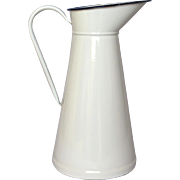 Vintage White Enameled French Graniteware XL Pitcher - Body Pitcher