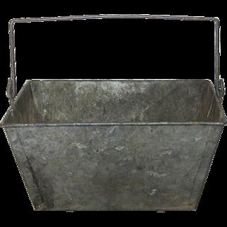 Vintage French Galvanized Metal Garden Trug / Basket -Workman's Tool Tote / Caddy