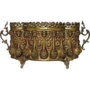 Stunning Brass Repousse French Jardiniere - Table Top Planter