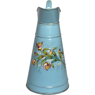 French Enamelware / Graniteware Body Pitcher with Floral Decors