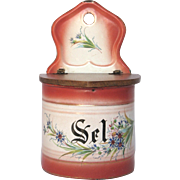 French JAPY Enamelware Salt Box - Floral Decor