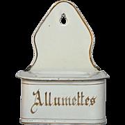 Enamel Match Holder - Graniteware Match Box from France
