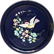 One of a Kind Hand Painted Antique Enamel Tray from France