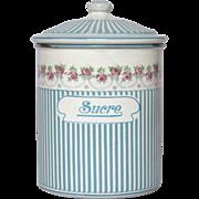 French Rose Garland Enamel Graniteware Sugar Canister - Sucre Pot