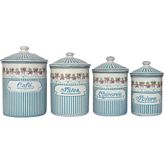 Rose Garland Series - French Enamel Graniteware Kitchen Canisters