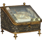 French Pressed Tin Jewelry Box / Memento Casket with Inclined Beveled Glass
