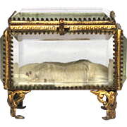 Antique French Jewelry Display Box / Memento Holder / Trinket Casket