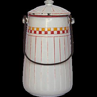 Red & Yellow Check French Enamel Milk Carrier - Graniteware Milk Pot